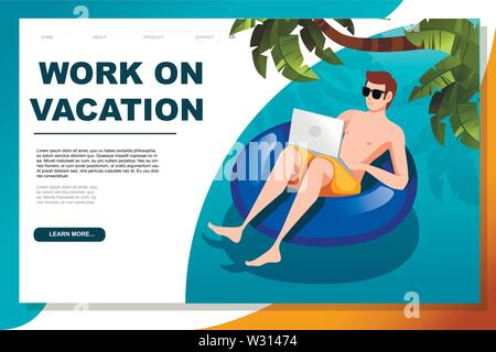 Young man floating on an blue inflatable circle with laptop flat vector illustration work at vacation horizontal banner web site design. - Stock Photo