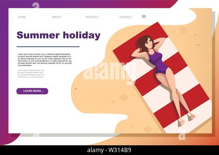 Beautiful women in purple swimsuit lies on red beach towels cartoon character design flat vector illustration website page design horizontal banner. - Stock Photo
