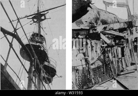 PSM V88 D042 Destroyed bridge and spar deck of the emden - Stock Photo