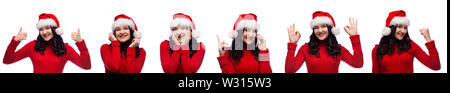 set of smiling brunette woman in christmas santa hat showing different kind of gestures isolated over white background - Stock Photo