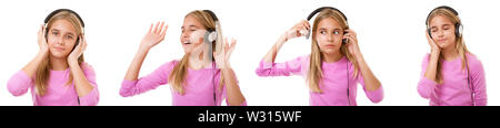 music and technology concept - set of lovely girl with headphone listening music isolated over white  background - Stock Photo