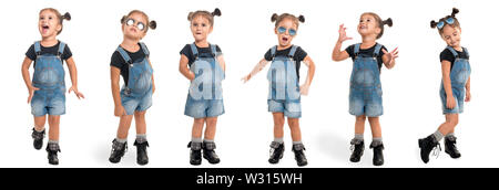 childhood and people concept - set of stylish little girl wearing denim in full length isolated over white background - Stock Photo