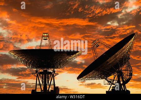 3D rendering of radio telescopes at sunset