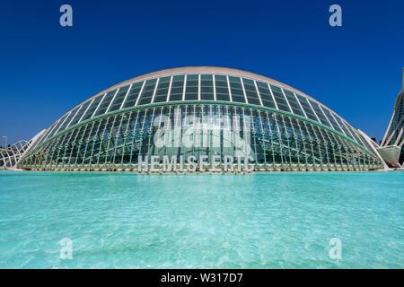 L'Hemisferic planetarium, City of Arts and Sciences or Ciudad de las Artes y las Ciencias, Valencia, Comunidad Valenciana, Spain