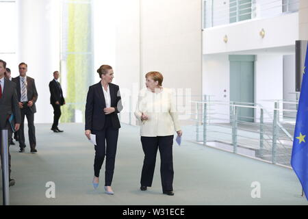 07.05.2019, Berlin, Germany, Chancellor Angela Merkel and the new Danish Prime Minister Mette Frederiksen at the press conference in the Chancellery in Berlin. - Stock Photo