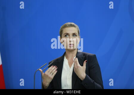 07.05.2019, Berlin, Germany,  the new Danish Prime Minister Mette Frederiksen at the press conference in the Chancellery in Berlin. - Stock Photo