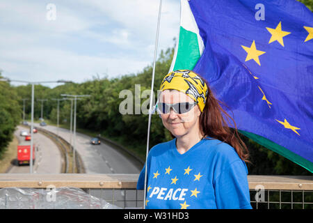 Cardiff, Wales, UK, July 11th 2019. Anti-Brexit activist Anita Harris delivers a message to passing motorists during the evening rush hour at Culverhouse Cross, a major road artery into and out of the city. Credit: Mark Hawkins/Alamy Live News - Stock Photo