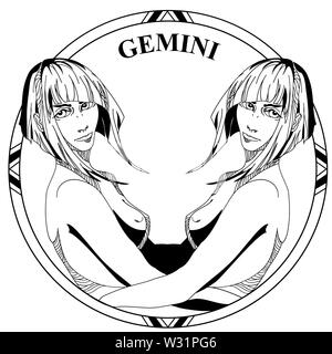 Vector illustration of sign zodiac Gemini. Twin Girls face with haircut in round frame. Line art. Coloring illustration. - Stock Photo