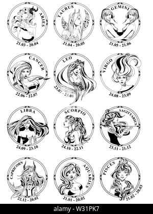 12 signs of zodiac in round frames, all elements of fire, aqua, earth, air. Black and white silhouette of girls portrait. Design for logo, calendar. - Stock Photo