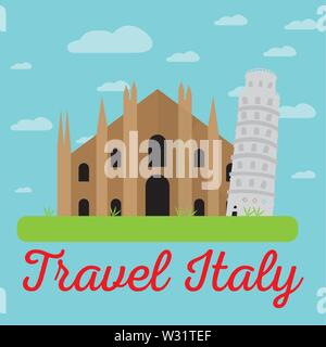 Colored landscape with different famous locations in Italy. Travel to Italy - Vector - Stock Photo
