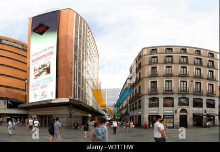 Madrid, Spain - June 20, 2019: Callao square, in the historic center of the capital of Spain - Stock Photo