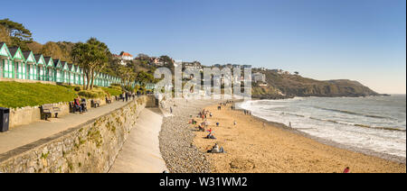 LANGLAND BAY, GOWER, WALES - FEBRUARY 2019: Panoramic view of Langland Bay on the Gower penninsula in Wales. - Stock Photo