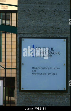 Frankfurt, Germany - July 06, 2019: The entrance sign of the Deutsche Bundesbank, a financial institution and head office in Hesse on 06 July 2019 in - Stock Photo