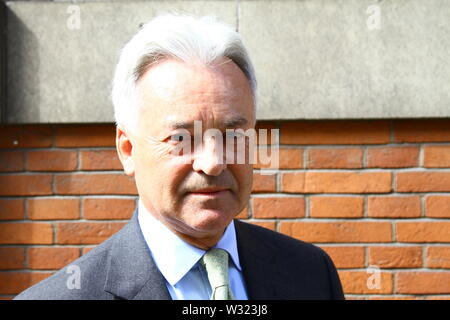 Alan Duncan MP pictured in Westminster, London, UK on 11th July 2019. Sir Alan James Carter Duncan British Conservative party member of Parliament for Rutland and Melton. Foreign office. Europe and the Americas. - Stock Photo