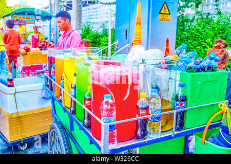 BANGKOK, THAILAND - APRIL 22, 2019: Variety of tastes of refreshing drinks with fruit pieces at the market stall in historical district, on April 22 i - Stock Photo