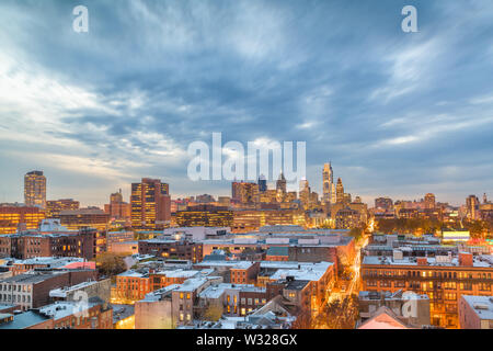 Philadelphia, PA, USA rooftop skyline at dusk. Stock Photo