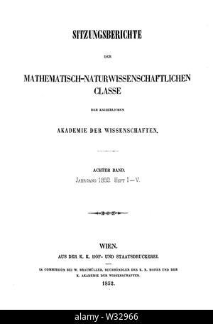Sitzungsberichte der Mathematisch-Naturwissenschaftlichen Classe der Kaiserlichen Akademie der Wissenschaften 1852 Titel - Stock Photo