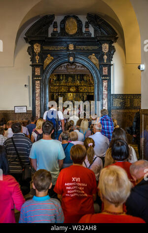 Inside the chapel where the icon of the Black Madonna of Czestochowa is shown, Poland 2018. - Stock Photo