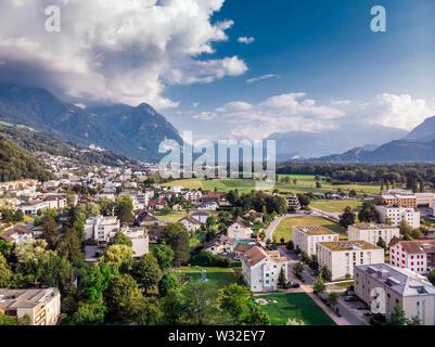 Vaduz Liechtenstein capital  aerial view from the drone. - Stock Photo