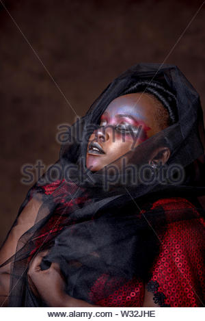 Portrait of woman with veil from tulle netting - Stock Photo