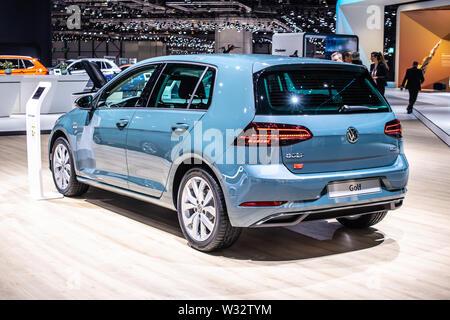 Geneva, Switzerland, Mar 2019 Volkswagen VW Golf MK7 MQB Seventh generation at Geneva International Motor Show, produced by German Volkswagen Group - Stock Photo