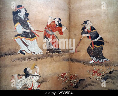 Merrymaking under Cherry Blossom Trees (detail), by Kano Naganobu, color on paper, Edo period, 17th century - Stock Photo