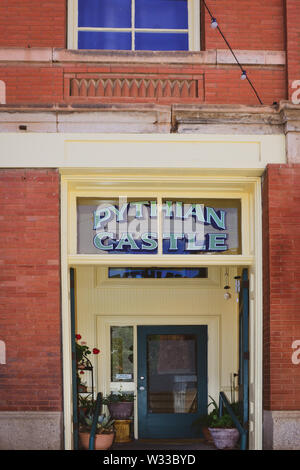 Entrance to the historical Pythian Castle, once a meeting house for a secret society, now remodeled into lofts/flats in Bisbee, AZ, USA - Stock Photo