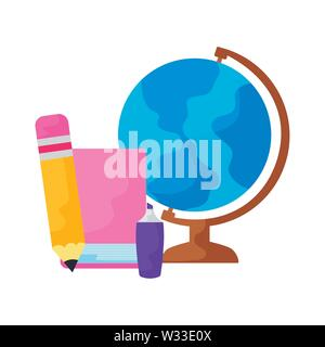 terrestrial globe with set supplies school vector illustration design - Stock Photo