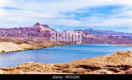 Mountains at the Cottonwood Basin of the Colorado River in El Dorado Canyon, border of Nevada and Arizona, and the Lake Mead National Recreational are - Stock Photo