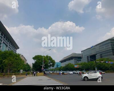 Beijing, China. 10th July, 2019. Photo taken with a mobile phone shows a shared car passing by in Beijing, capital of China, July 10, 2019. Credit: Wang Junlu/Xinhua/Alamy Live News - Stock Photo