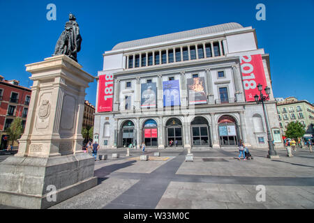 Madrid, Spain - June 21, 2019: Teatro Real (Royal Theatre) or simply El Real, as it is known colloquially, is a major opera house located in Madrid. - Stock Photo