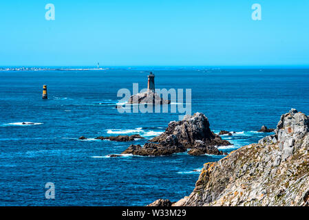 Scenic view of The Pointe du Raz. It is a promontory that extends into the Atlantic from western Brittany, in France. - Stock Photo