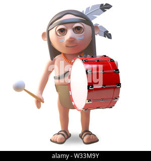Musical native American Indian beats on a bass drum, 3d illustration render - Stock Photo