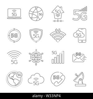 Icon set of 5G network mobile technology  Vector