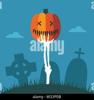 Skeleton Hand with Halloween Pumpkin at Graveyard - Stock Photo