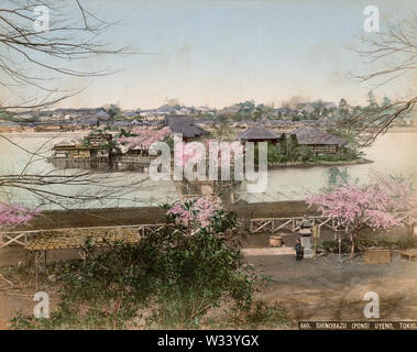 [ 1880s Japan - Shinobazu Pond at Ueno Park, Tokyo ] —   Bentendo Temple (弁天堂) temple on Bentenjima Island (弁天島) in Shinobazu Pond (不忍池, Shinobazu no Ike) at Ueno Park in Tokyo. In front, part of the horse race course can be seen, the first one in the capital. The first race took place in November, 1884 (Meiji 17). Races were organized every spring and summer until 1892 (Meiji 25).  19th century vintage albumen photograph. - Stock Photo