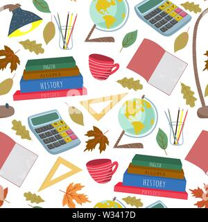 Back to school. Flat vector seamless pattern, freehand with stationery, books and other on a white background - Stock Photo