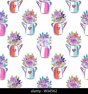 Flowers in watering can bright colors seamless vector pattern. - Stock Photo