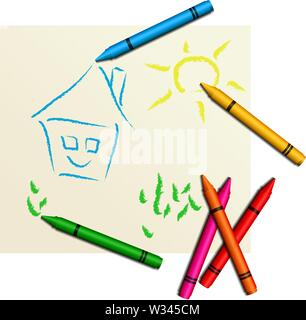 Multicolored cute children's drawing - Stock Photo