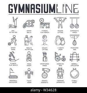 Set of gymnasium thin line icons, logos isolated on white background. Fitness, yoga and sport outline pictograms collection. Athletic, training equipm - Stock Photo
