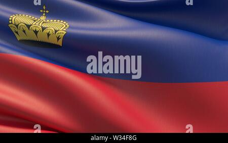 High resolution close-up flag of Liechtenstein. 3D illustration. - Stock Photo