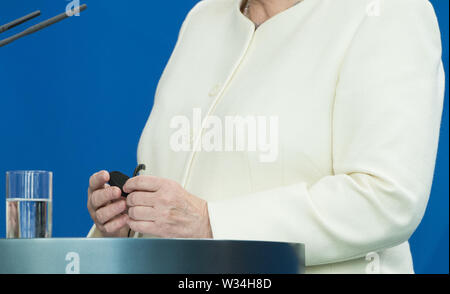 Feature - Federal Chancellor Angela MERKEL Press briefing of the Prime Minister of the Kingdom of Denmark and the Federal Chancellor in the Federal Chancellery in Berlin, Germany on 11.07.2019. | Usage worldwide - Stock Photo