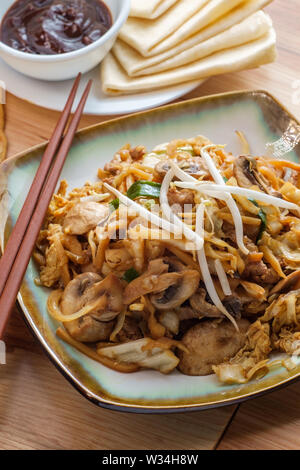 Chinese food Moo shu pork with Mandarin pancake wrappers and hoisin black bean dipping sauce - Stock Photo