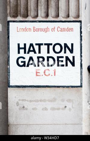 Hatton Garden painted street sign in London Borough of Camden EC1 - Stock Photo