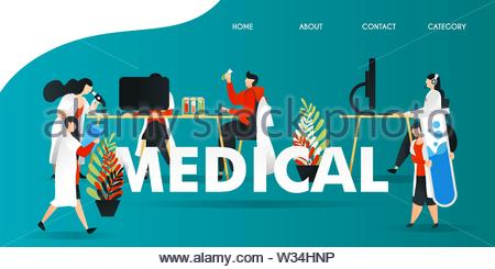 flat cartoon character. vector illustration for technology, science, lab, research, web. scientist research in the laboratory. holding large tube, - Stock Photo