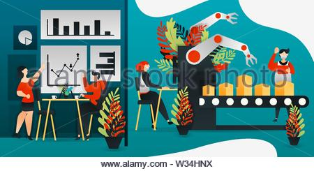 flat cartoon character. vector illustration for technology, factory, sales, marketing. worker making product with latest machine and robot hand. busin - Stock Photo
