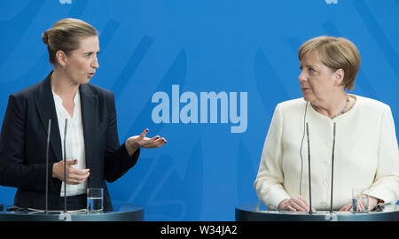 Minister President Mette FREDERIKSEN and Federal Chancellor Angela MERKEL Press briefing of the Prime Minister of the Kingdom of Denmark and the Federal Chancellor in the Federal Chancellery in Berlin, Germany on 11.07.2019. | Usage worldwide - Stock Photo