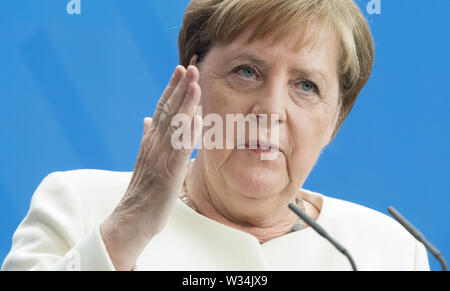 Federal Chancellor Angela MERKEL Press briefing of the Prime Minister of the Kingdom of Denmark and the Federal Chancellor in the Federal Chancellery in Berlin, Germany on 11.07.2019. | Usage worldwide - Stock Photo