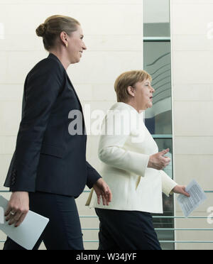 Federal Chancellor Angela MERKEL and Minister President Mette FREDERIKSEN Press briefing of the Prime Minister of the Kingdom of Denmark and the Federal Chancellor in the Federal Chancellery in Berlin, Germany on 11.07.2019. | Usage worldwide - Stock Photo