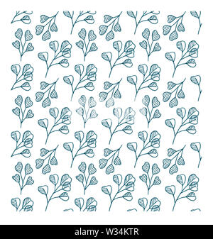 Teal eucalyptus plant twigs botanical illustration, floral seamless pattern - illustration of silverdollar eucalyptus tree branches and curled twigs o - Stock Photo